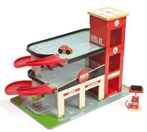 Jouet enfant Le Garage Rouge de Dino en bois Le Toy Van