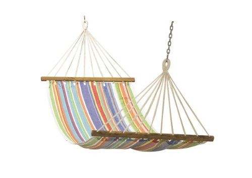 Hangit 11'FT Cotton Fabric Hammock Swing - Multi Stripe H…