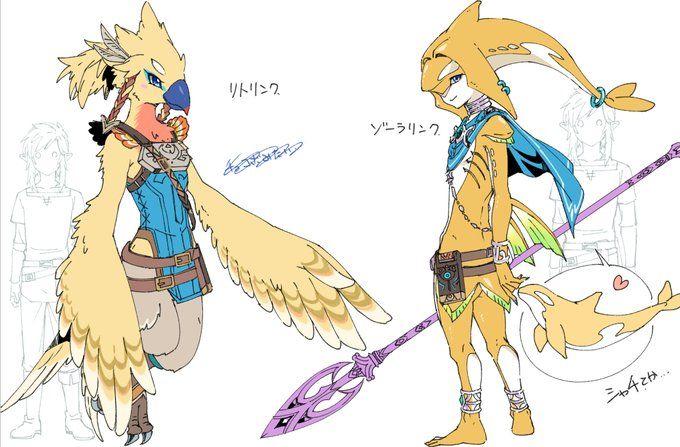 Link's Rito & Zora OCs