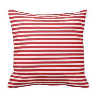 Red and White Nautical Stripes Pillow | Red Throw Pillows | Pretty Throw Pillows