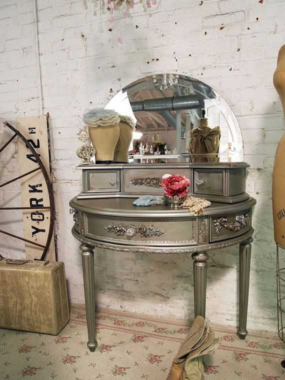 Painted Cottage Chic Shabby Silver Slipper Romantic Vanity on Etsy