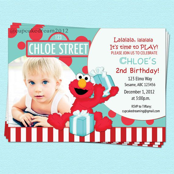 Elmo Birthday Invitations Sesame Street Inspired by CupcakeDream, $14.00