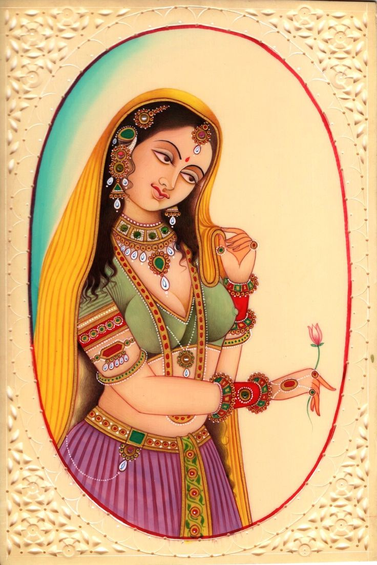 Indian Miniature Painting Mughal Princess Handmade Watercolor Mogul Portrait Art