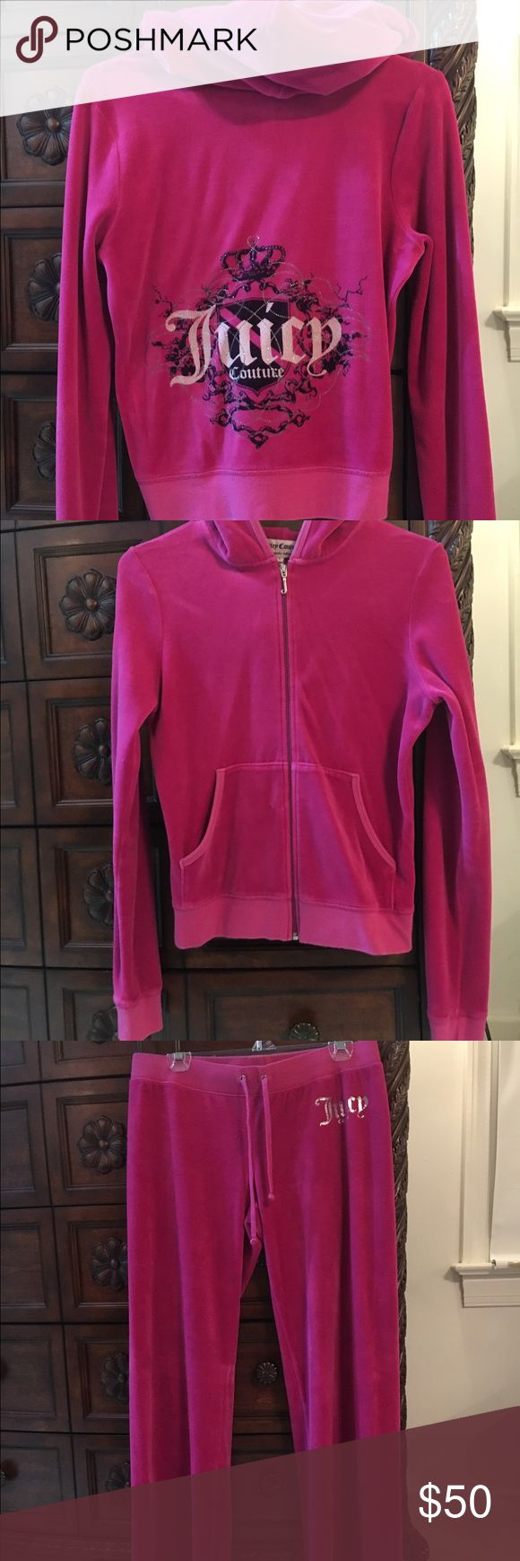 Juicy Couture Velour Tracksuit Juicy Couture Velour Tracksuit in fuchsia. This suit has only been worn a handful of times and is in perfect condition.  Would sell both individually for $25 each. Juicy Couture Pants Track Pants & Joggers