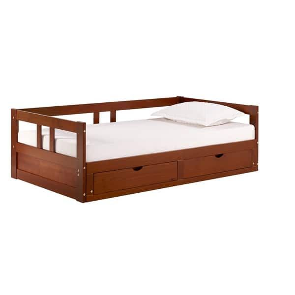Melody Expandable Twin To King Trundle Daybed With Storage Drawers Overstock Com Shopping The Be In 2020 Daybed With Storage Daybed With Trundle Alaterre Furniture