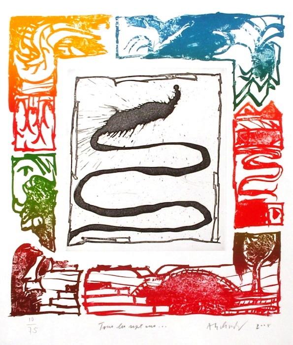 Tous les sept ans, Gravure, du peintre, Pierre, ALECHINSKY, Signée et numérotée au crayon