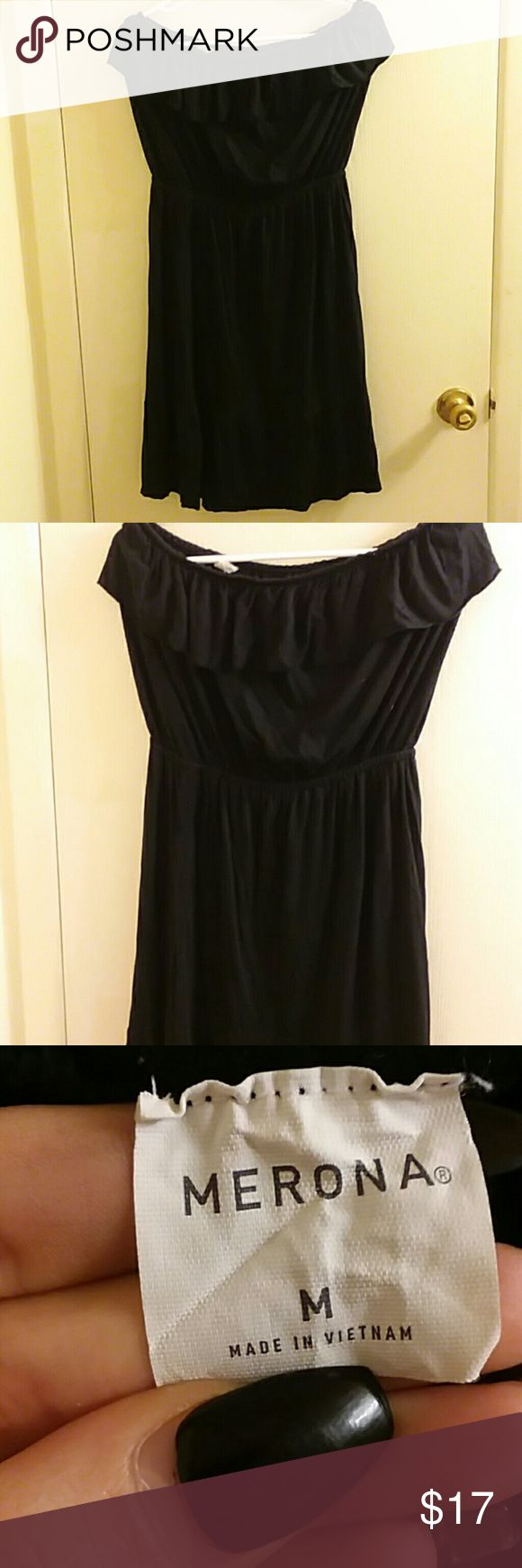 Black sundress bundle Both worn twice black sundress size medium second dress is size small fits medium and from fashion bug comes with free gift too Merona Dresses