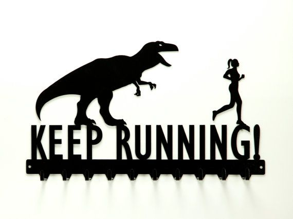 Keep Running T-Rex and Running Woman Medals Rack