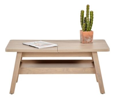 Table Basse Extensible Tyra Imitation Chene Et Blanc Appart In