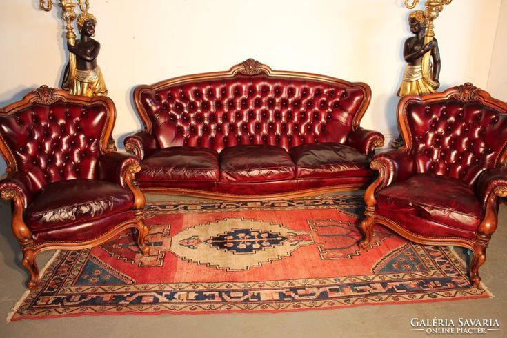 Csodaszép antik burgundi színű,chesterfield barokk bőr ülőgarnitúra 3-1-1!