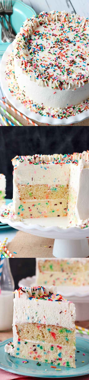 Funfetti Millionaire Cheesecake with White Chocolate and Heavy Cream ~ Almond funfetti cheesecake with layers of funfetti cake, whipped vanilla icing and white chocolate funfetti mousse.