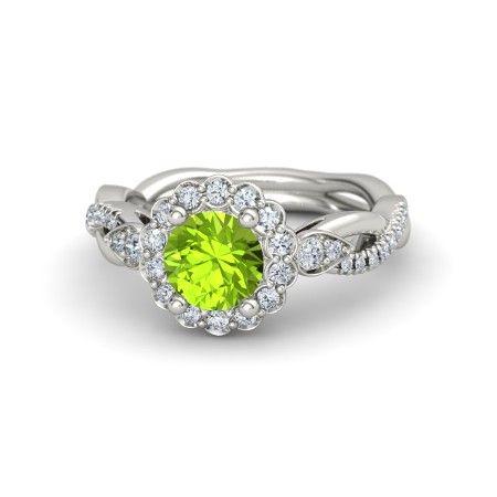 Round Peridot 14K White Gold Ring with Diamond | Lucinda Ring | Gemvara