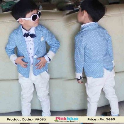 Designer Baby Boy Formal Party Dress - Stylish Blue and White Birthday Outfit for Kids, Handsome Wedding Suit for Children, Kids Fashion Clothing, Baby Summer Outfits Size - 6-7 Years