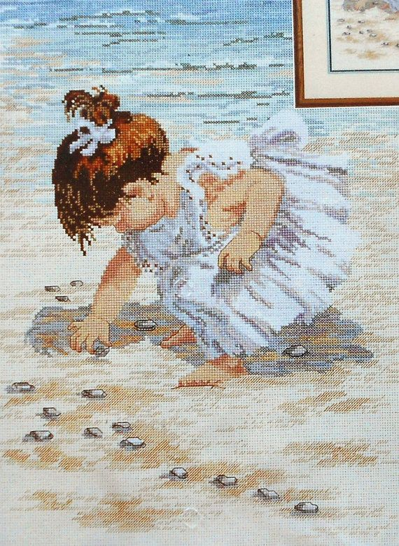 Janlynn COLLECTING SEA SHELLS Girl On Beach by ThePamperedStitcher, $14.25
