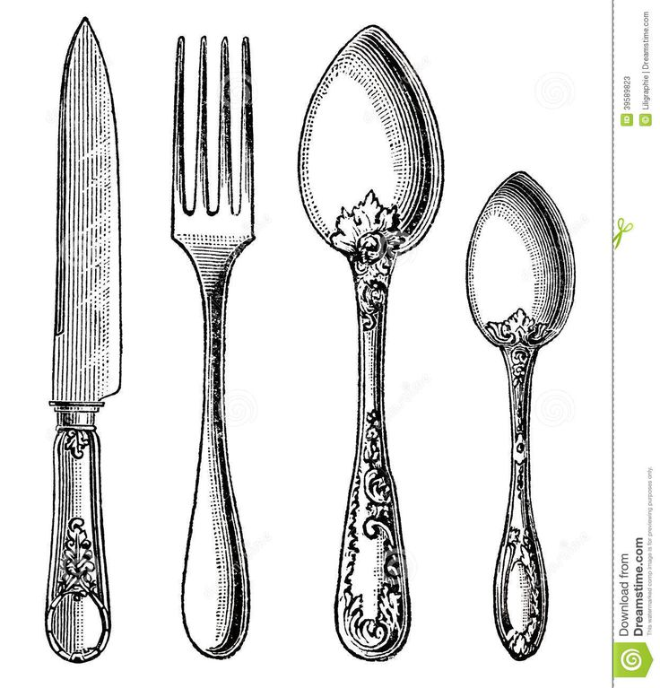 Line Drawing Knife And Fork : Vintage silverware knife fork spoon engraving white
