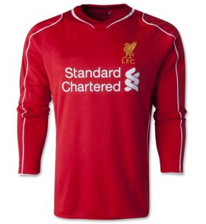 14-15 Cheap Liverpool Football Shirt Home Long Sleeve Replica Jersey [1407230239]