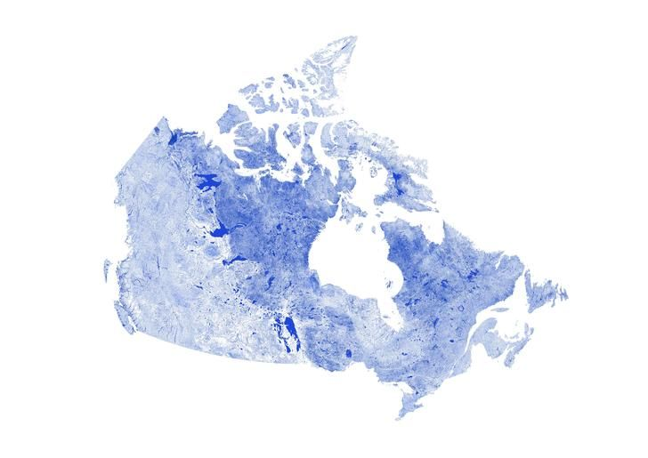 Canada mapped only by rivers, streams and lakes
