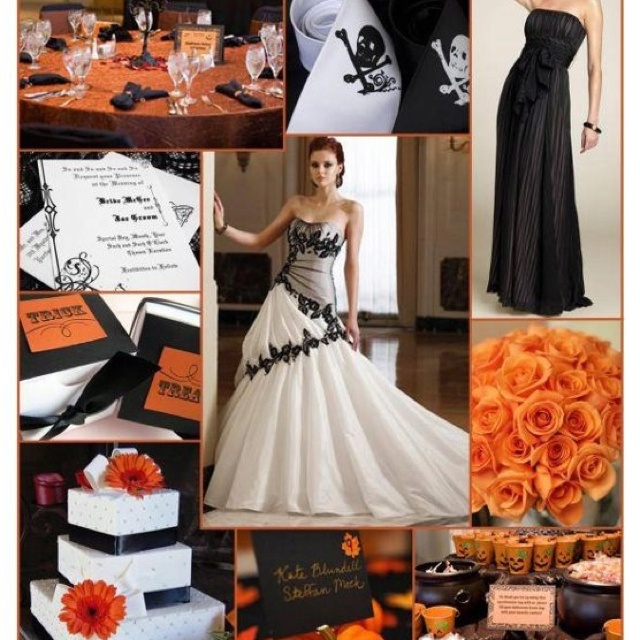 1000 images about black white and orange wedding for White and orange wedding dress