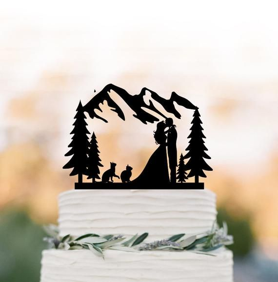 Outdoors Wedding Cake Topper Mountain With 2 Cats Cake Topper Etsy Wedding Cake Topper Silhouette Silhouette Wedding Cake Silhouette Cake Topper