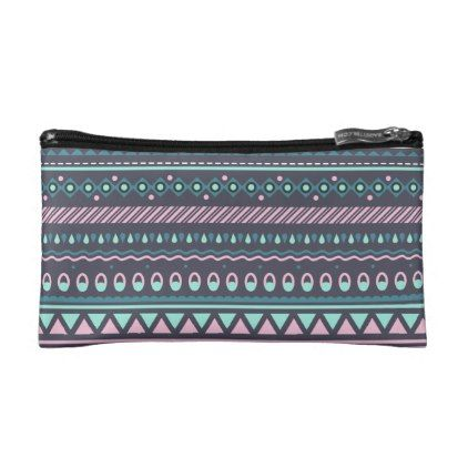 Ethnic Tribal Colored Geometric Small Cosmetic Bag - modern gifts cyo gift ideas personalize