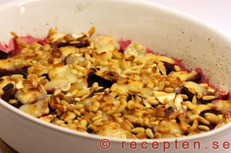 Rödbetor med chèvre - Recept på rödbetor med chèvre, honung och pinjenötter. @recepten_se