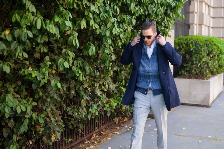 Full-time sales associate Lance Jubel wearing an MP di Massimo Piombo coat, Missoni cardigan, Barena popover and Carson Street wool hopsack trousers.