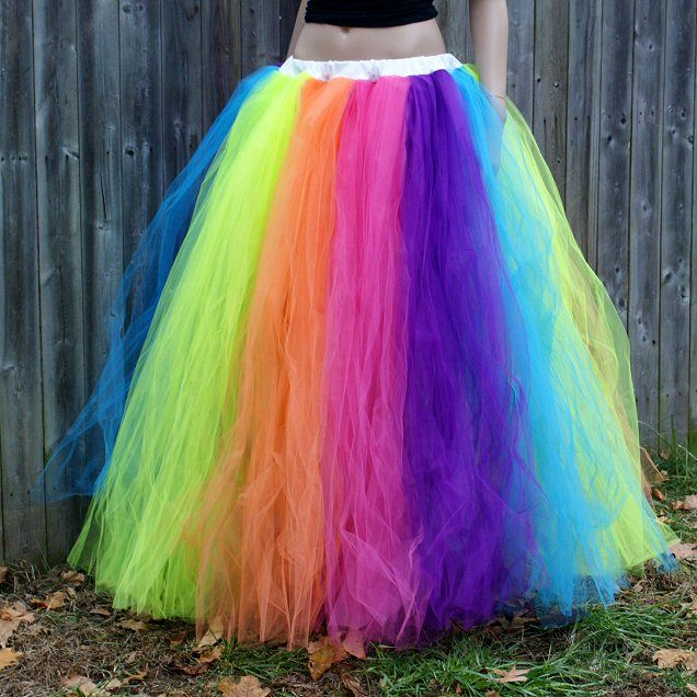 Neon Rainbow Prom Wedding Fairy Gown TuTu Skirt Formal : neon fairy costume  - Germanpascual.Com