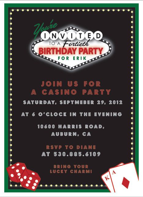 casino birthdasy party invitation printable invitation by