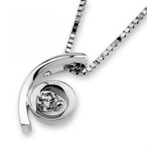 18K White Gold Moon Solitaire Diamond Pendant (1/10 cttw) (FREE 925 Silver Box Chain)