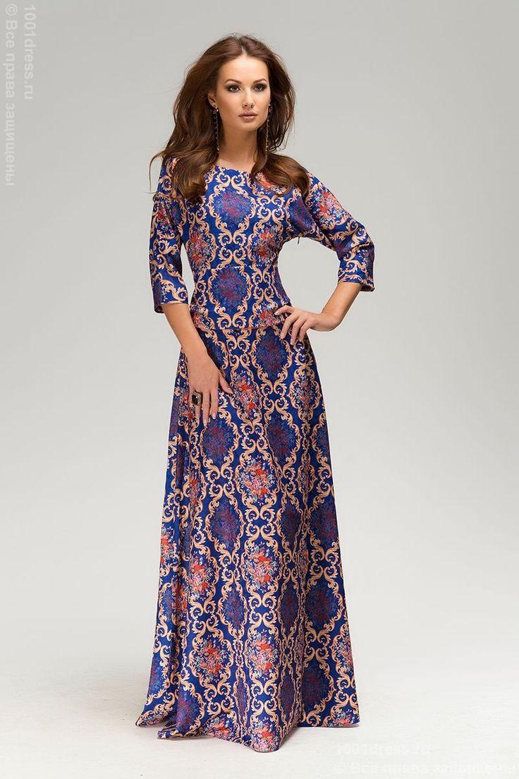 """Платье фиолетовое длины макси с принтом и рукавом """"летучая мышь"""". Фиолетовый в интернет магазине Платья для самых красивых 1001dress.Ru"""