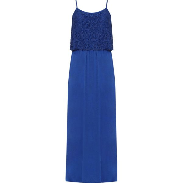 WearAll Plus Size Strappy Floral Lace Lined Maxi Dress (210 DKK) ❤ liked on Polyvore featuring dresses, royal blue, maxi dresses, plus size holiday dresses, cocktail dresses, plus size evening dresses and blue floral dress