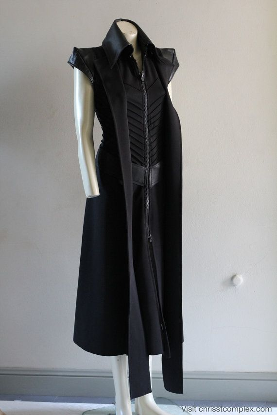 Steampunk Sleeveless Long Jacket Leather Zipper Fashion Coat Goth Gothic - Chrisst SPECIAL ETSY PRICE