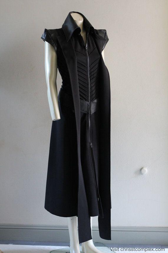 Steampunk Veste longue sans manches en cuir à capuche Fashion manteau Goth CHRISST