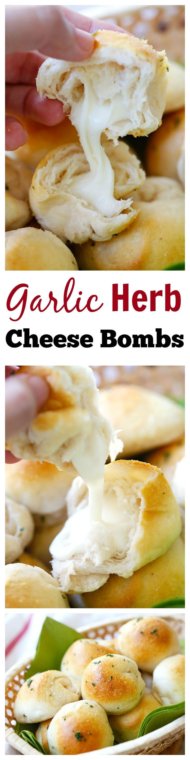 Garlic Herb Cheese Bombs – amazing cheese bomb biscuits loaded with Mozzarella cheese and topped with garlic herb butter. Easy recipe that takes 20 mins. @lovebakesgood | rasamalaysia.com | #cheese