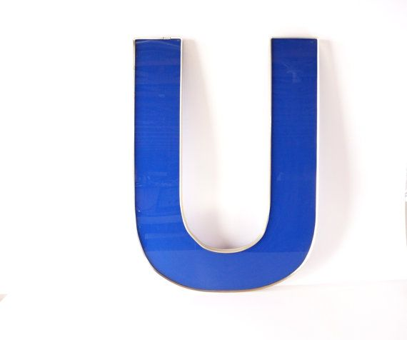 vintage industrial letter u sign letter in blue and silver by