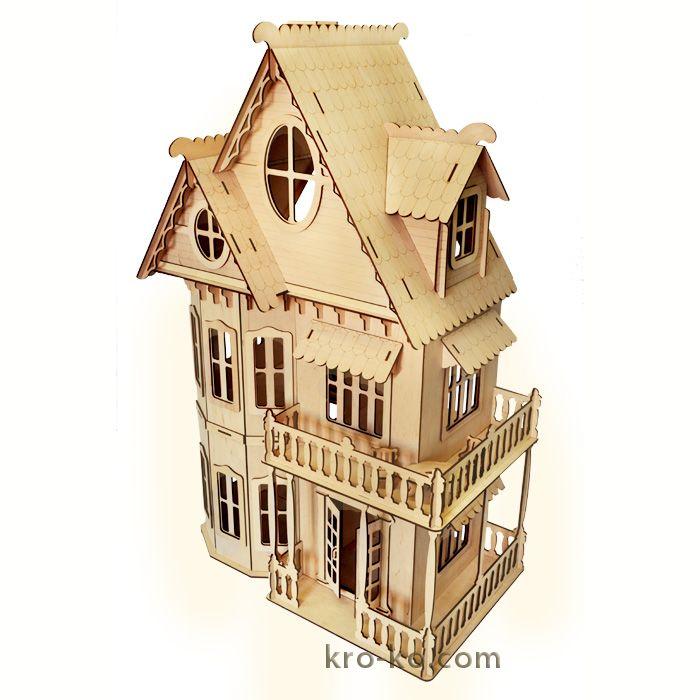 Купить деревянный Кукольный домик с мебелью в интернет-магазине Kroko&woodi