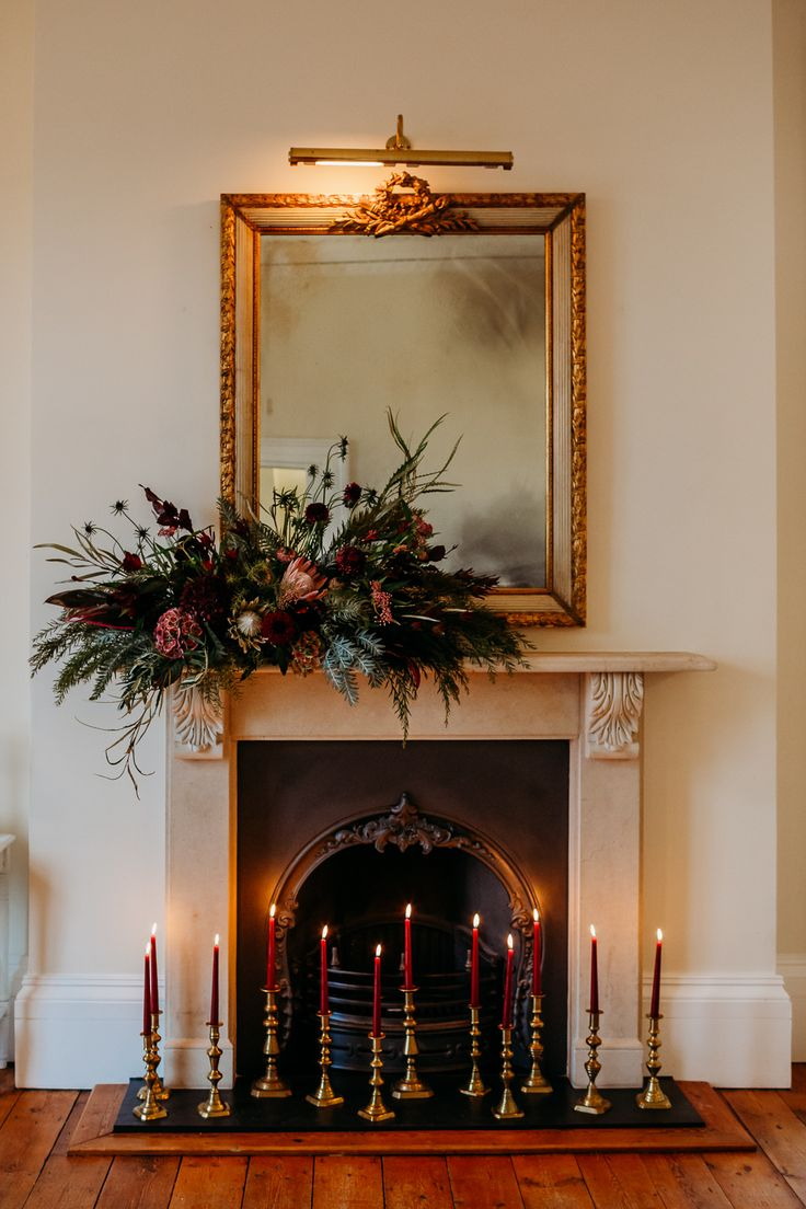 Tewdrics House Wedding When Charlie Met Hannah Wedding Fireplace Decorations, Wedding Mantle, Christmas Decorations, Autumn Forest, Burgundy And Gold, Green Christmas, Flower Arrangements, Wedding Flowers, Candle Fireplace