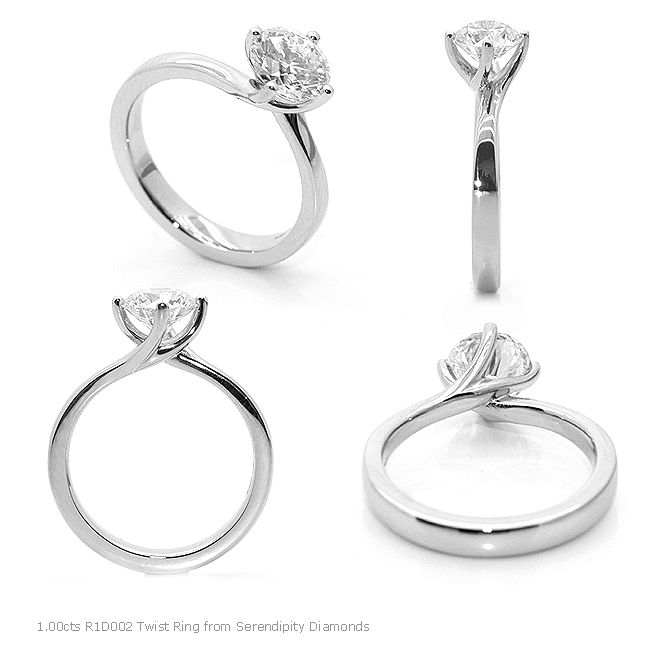 Four claw twist engagement ring R1D002 in a 1.00cts size. As far as engagement rings go, this is truly an iconic size, represented perfectly here with a four prong claw twist setting, one of many simple engagement rings available at Serendipity Diamonds.