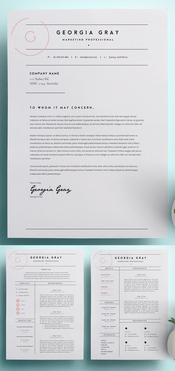 Beautiful simple modern resume and cover letter template with a feminine twist.