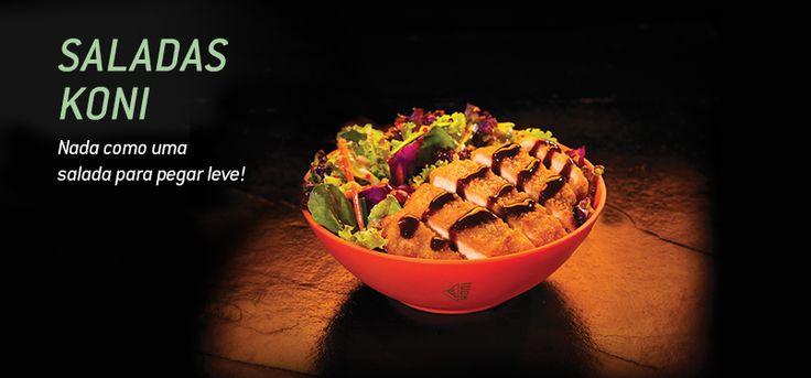 Temos diversas opções de saladas Koni em nosso cardápio!