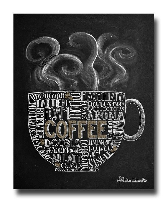 •The Listing • ~Another chalk drawing for the coffee lover! This design features a coffee mug, steam, and subway styled typography. Within the