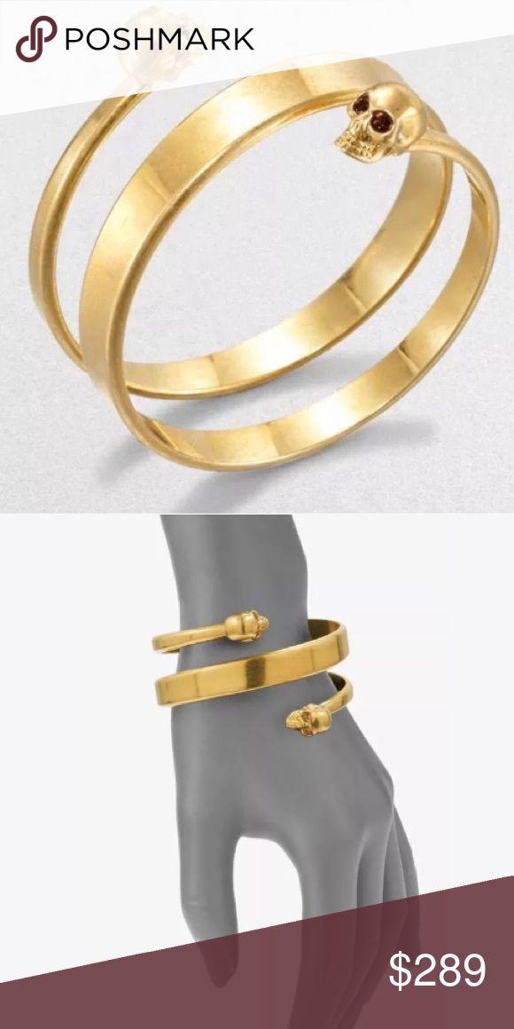 Alexander McQueen New Twin Wrap Skull Bracelet Alexander McQueen New Twin Wrap Skull Bracelet Cuff Bangle Gold Tone $495 Alexander McQueen Jewelry Bracelets