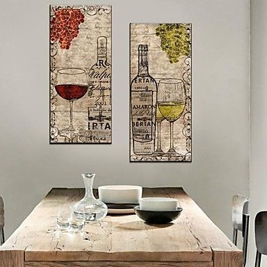 Stretched Canvas Art Still Life Wine And Wine Glasses Set of 2 - USD $ 49.99