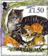 Stamp from Isle of Man honored one of their own long time Pussy Cat's Club members.