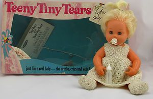 tiny tears doll 1970s, how i wanted this doll, it must have come out just after i got the largerTiny Tears & of course everyone else was getting  the new version so i had her big sister instead!