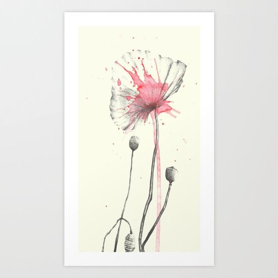 Dotted poppies Art Print by Birgithe Solstrand | Society6