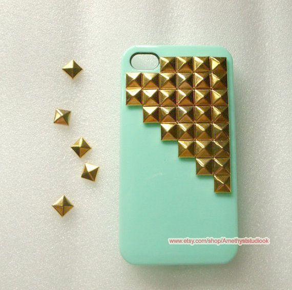 mint green  studded phone Case,gold Pyramid Studs case  for IPHONE4/4s/5,Samsung galaxy s3,