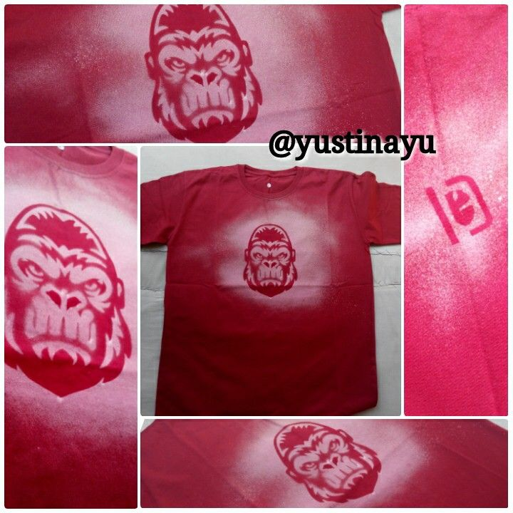 DIY spray bleach red gorilla t-shirt