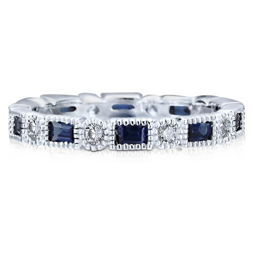 Обручальное кольцо вечности из стерлингового серебра с  цирконами-сапфирами огранки изумруд CZ по кругу UAH 587.83