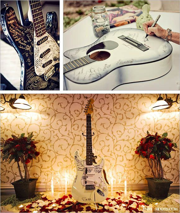 THIS IS A REALLY NEAT IDEA ... Guitar Guest Book - If you have a music band or simply love music, you might want to repurpose one of your guitar into a guest book. This can generate an awesome conversation when hang and display on the wall with a protective coat. definetly need a picture but PERFECT!